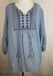 NWT St John's Bay Blue Chambray Boho Top Size XL